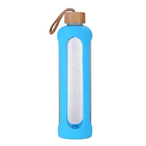 Gulujoy Sport Trinkflasche Glas 1 Liter Wasserflasche To Go mit Silikonhülle Bambusdeckel (Blau)