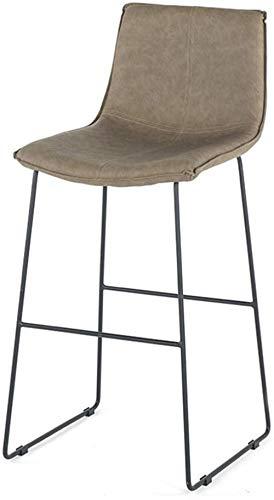 White Iron Frame Barstools | Imitation Wood Design | Faux Leather Seat | Modern High Chair Kitchen Restaurant Bar High Stool