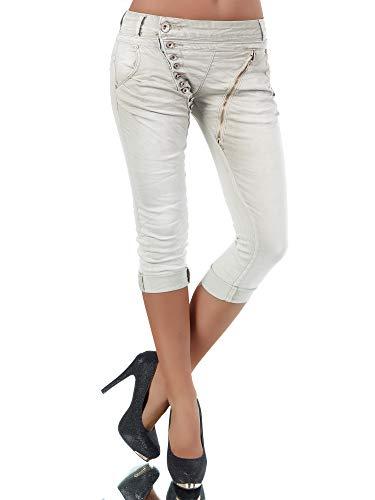 Damen 3/4 Capri Jeans Hose Shorts Damenjeans Hüftjeans Caprijeans Boyfriend N123, Farbe: Beige, Größe: 40 (L)