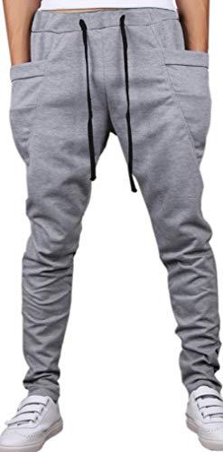 Hoerev Men's Running Trousers Casual Jogging Harem Cotton Pants Grey