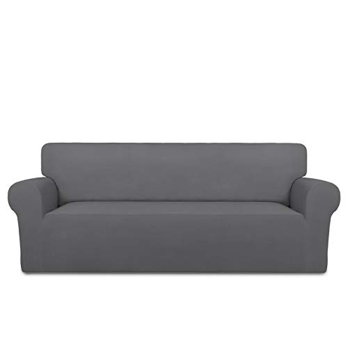 PureFit Super Stretch Chair Sofa Slipcover – Spandex Non Slip Soft Couch Sofa Cover, Washable Furniture Protector with Non Skid Foam and Elastic Bottom for Kids, Pets (Sofa, Gray )