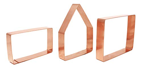 Bake Your Own Small Gingerbread House Kit 3 Piece Copper Christmas Cookie Cutter Set by The Fussy Pup