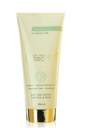 Lusso Tan Self-Tan Lotion for Face and Body - Medium, 200ml, Organic, Vegan...