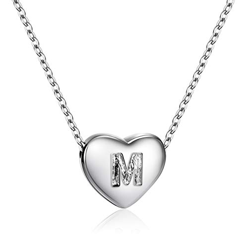 Dainty Heart Initial Necklace S925 Sterling Silver Letters M Alphabet Pendant Necklace Valentine
