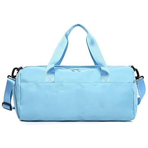 WYWY Bolsa de entrenamiento de fitness deportiva seca y húmeda de gran capacidad al aire libre de corta distancia ocio bolsa de viaje portátil (azul claro)