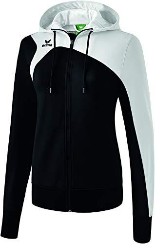 Erima Damen CLUB 1900 2.0 Trainingsjacke mit Kapuze, schwarz/Weiß, 44