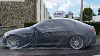 Car Condom 5 Pack Disposable Plastic Car Cover with Elastic Band Medium Size 21' x 12.5'