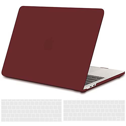 TECOOL Funda para MacBook Pro 13 2016 2017 2018 2019, Plástico Dura Case Carcasa + Tapa del Teclado para MacBook Pro 13.3 Pulgadas con/sin Touch Bar Modelo: A1706 A1708 A1989 A2159 - Vino Rojo
