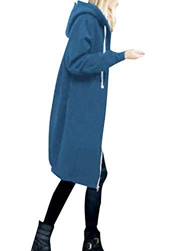 OMZIN Sweatshirts Damen Frühlingjacke,Frühlingmantel Lange Jacke Outwear Frühling Warm Mantel Kapuze Mantel Kurzmantel Frühlingmantel Türkis 3XL