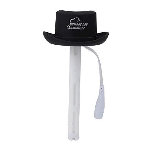 Qkiss draagbare mini USB mini cowboyhoed luchtbevochtiger voor thuis auto kantoor, 5 kleuren beschikbaar, vangt stof, rook ect, geschikt voor kleine kamer(Zwart)