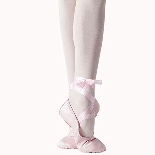 CCHAYE Señoras Cómodas Zapatos de Yoga Ballet Ribbon Satin Dance Shoes Profesor Gimnasio Jazz Suave Bajo Bajo Baile Niño-Rosado_41 Improve