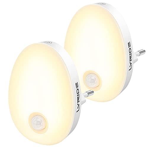 LYRIDZ Nachtlicht Steckdose mit Bewegungsmelder, strahlend hell 1-120LM Plug-in Nachtlicht dimmbar, Smart Warmweißes LED-Licht mit stufenlos einstellbarer Helligkeit für Schlafzimmer Küche Flur2 Stück