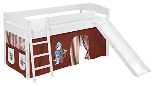 Lilokids Lit surélevé ludique IDA 4105 90x200 cm Pirate Marron Beige - Lit surélevé évolutif Blanc laqué - avec Toboggan et Rideaux