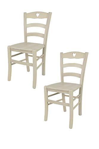 Tommychairs - Set 2 sedie modello Cuore per cucina bar e sala da pranzo, robusta struttura in legno di faggio verniciata in anilina bianca e seduta in legno
