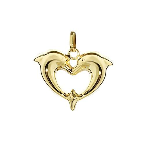 NKlaus Herz Zwei Delfine Kettenanhänger 333 Gold gelbgold Damen Kinder Mädchen Goldherz 7791