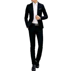 (ナガポ)NAGAPO スーツセット ジャケット パンツ セットアップ フォーマル ビジネス メンズ スリム 細身 2点セット (L, ブラック)