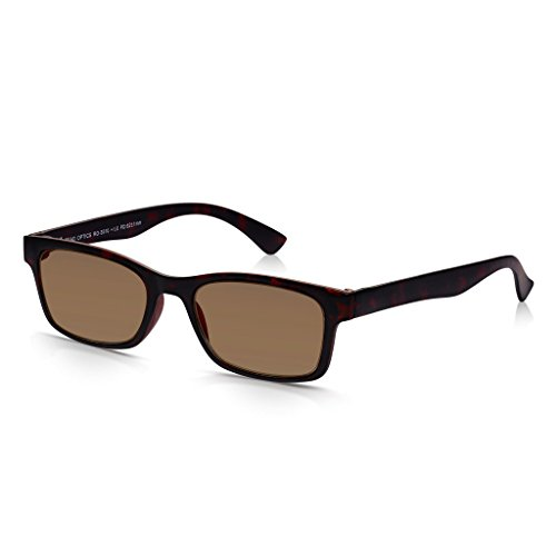 Read Optics Sonnen-Lesebrille: UV-400 Brille im italienischen Stil für Damen/Herren in braunem Schildpatt. Rechteckige Qualitäts-Gläser mit +1,0 Dioptrien. Leichter Rahmen aus stabilem Polykarbonat