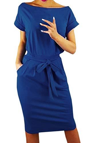 Ajpguot Damen Freizeit Kleid mit Gürtel Elegant Rundhals Midi Kleider Blusenkleider Ballkleid Festkleid Frauen Langarm Tasche Wickelkleider Abendkleider Partykleid (L, Blau 1)