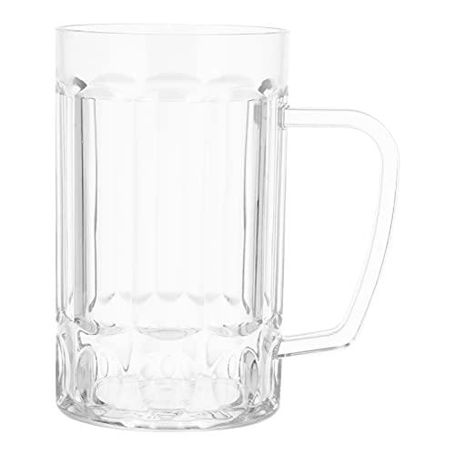 Toyvian Taza de Cerveza de Plástico Transparente de 540Ml con Mango Agarre de Mano Resistente a Caídas Copa de Vidrio de Plástico Copa de Vino Copa de Agua para Bar en Casa Oficina
