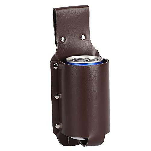 Jiawu Bolsa de Cuero para Botella de Cerveza de PU, Bolsa de cinturón para Botella de Vino portátil 330 ml Resistente y Duradera para montañismo al Aire Libre para Acampar y Caminar