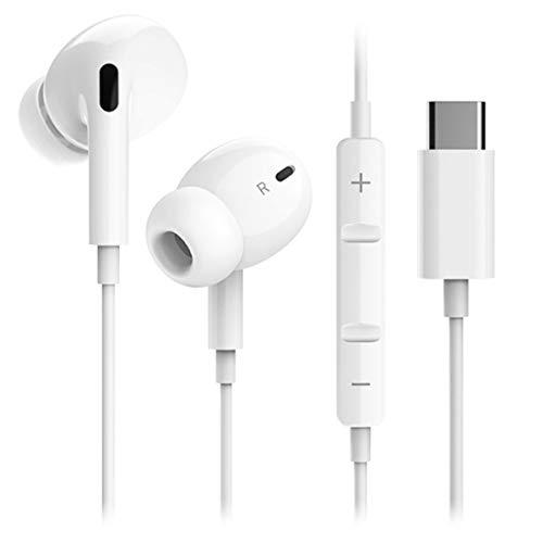 Auriculares USB Tipo C, In-Ear Sonido Estéreo Auriculares con Función de Reducción de Ruido de HiFi, Micrófono de Soporte y Control de Volumen, Compatible con Huawei, Samsung, Oneplus,HTC,iPad Pro