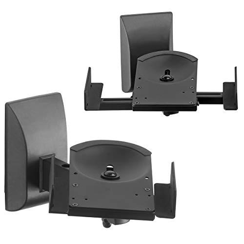 Suptek Staffa di montaggio a parete per altoparlante da scaffale a doppio morsetto laterale per diffusori audio di grandi dimensioni circostanti, può contenere fino a 25kg ogni SPM201, Nero