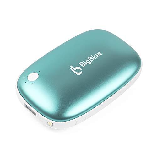 BigBlue 6000mAh Handwärmer USB, Wiederaufladbare Powerbank mit LED Taschenlampe Große Kapazität und doppelseitige Heizung, Externe Backup Ladegerät Akku für Smartphones, Blau (2019 Version)