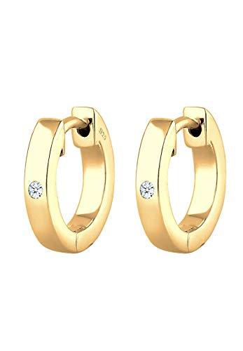 DIAMORE Ohrringe Damen Creole Edel mit Diamant (0.04ct) in 925 Sterling Silber vergoldet