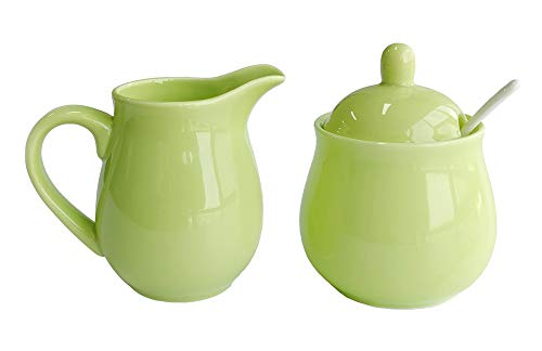 Ceramic Colorful Creamer and Sugar Set with Lid Spoon, Coffee Serving Set