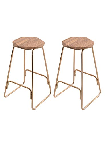 Barstoolri barkruk, 2 stuks, ergonomische zitting, robuust metalen frame van hout voor huis keuken ontbijt #3