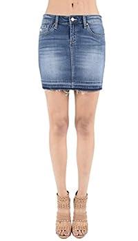 Kan Can Women s Stretch Distressed Denim Mini Skirt with Released Frayed Hem  Small Medium