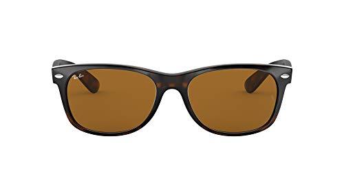 Ray-Ban RB2132 New Wayfarer Polarized Sunglasses, Light Havana/Brown, 55 mm