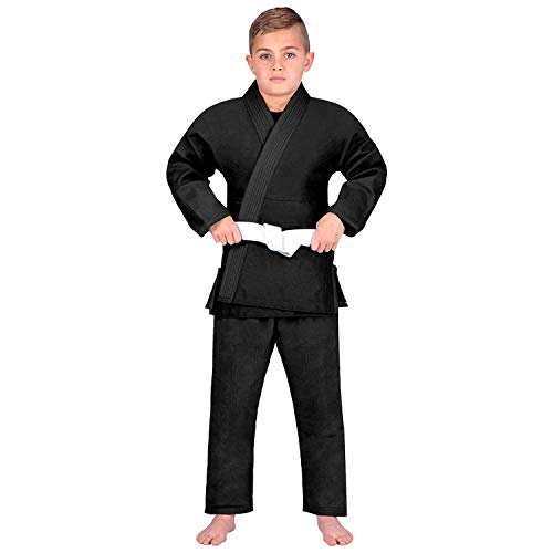 Elite Sports Kids BJJ GI,Children's Lightweight Brazilian Jiujitsu Kimono W/Preshrunk Fabric & Free Belt (Premium Black, C1)