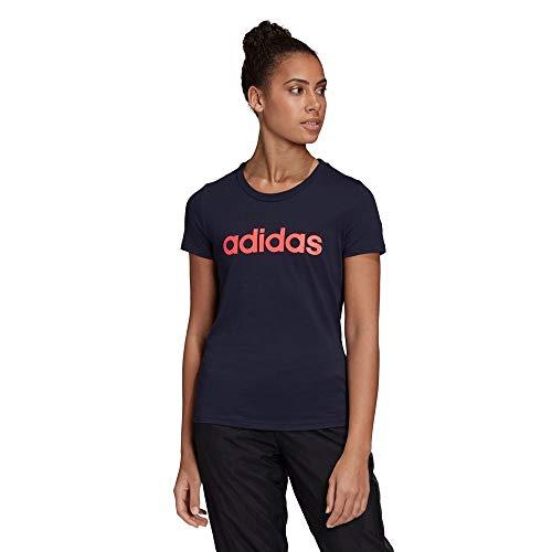 adidas W E Lin Slim T, T-Shirt Donna, Legend Ink/Signal Pink, L