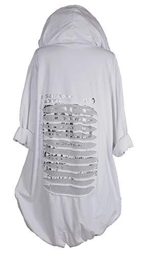 Italy Donna Damen Sommer Lagenlook Kapuze Mantel Jacke Blazer Kardigan 42 44 46 48 50 52 54 56 M L XL XXL 3XL 3D Silber Print Urlaub Strand Weiß (46)
