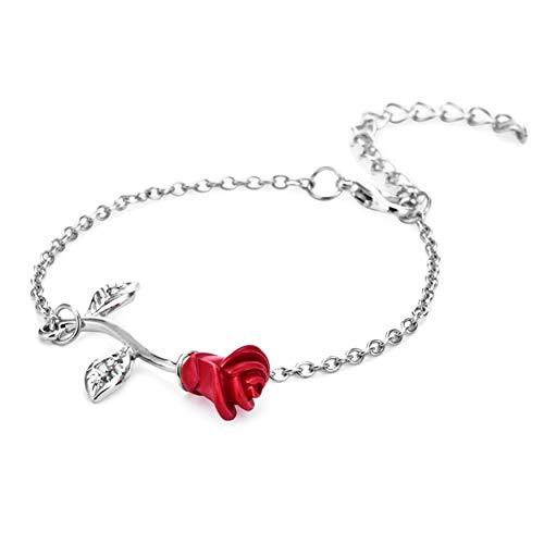 FWQW Cute Red Rose Flower Charm Bracelet Jewelry Roses Link Bracelets for Women Girls