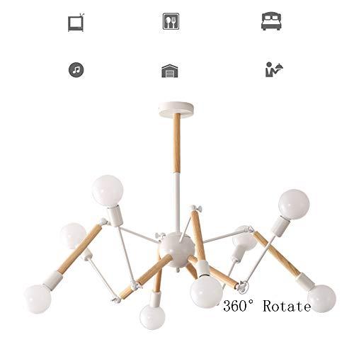 HUIRUI Kronleuchter 8-armig 360° Drehbar Spinnenform Hängeleuchte Eisen und Holz Glaslampenschirm