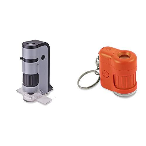 Carson MicroFlip 100x-250x LED Lighted Pocket Microscope with Flip Down Slide Base & MicroMini 20x LED Lighted Pocket Microscope with Built-in UV and LED Flashlight - Orange