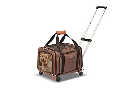 Petpeppy.com PET Peppy Premium Airline Approved Expandable Pet Carrier with Wheels - Two Side Expansion, Designed for Cats, Dogs, Kittens, Puppies - Extra Spacious Soft Sided Carrier! (Brown)