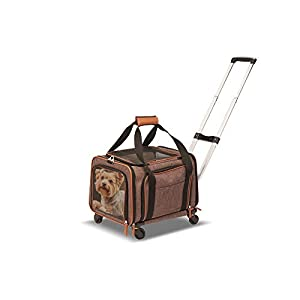 Petpeppy.com PET Peppy Premium Airline Approved Expandable Pet Carrier with Wheels – Two Side Expansion, Designed for Cats, Dogs, Kittens, Puppies – Extra Spacious Soft Sided Carrier! (Brown)