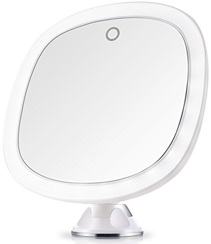 Miusco Lighted Travel Mirror, 7X Magnifying Lighted Makeup Mirror, 9 inch, Adhesive Suction Mount, Battery & USB Operated