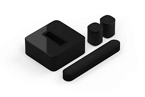 Sonos 5.1 Surround Set - Home Theater System with all-new Beam, Sub and a set of two Sonos One Speakers. Compact Smart TV Sound bar with Amazon Alexa voice control built-in. (Black)