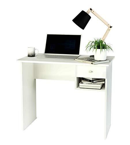 Samblo S-9906B Hana - Escritorio con Cajón, Mesa de Estudio de 90 cm de Ancho, Melamina, color Blanco