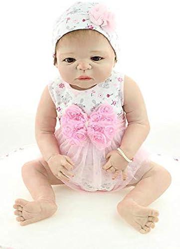 Hongge Reborn Baby Doll,Vollen Weißhem Silikon lebensechte Reborn Baby Puppe Weißnachten Geburtstag 58cm