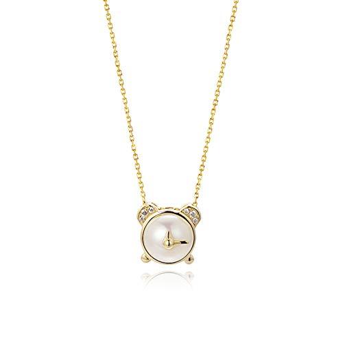 KnSam Oro Collar, Despertador con Perla Diamante Collar Oro con Colgante 18K 750 Oro Amarillo con Diamante Mujer Cadena 750 Oro San Valentín Collar Oro Cadena con Colgante