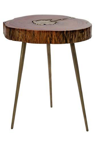 elbmöbel Beistelltisch mit Messingfüllung Baumscheibe Baum-Design Tisch Modern massiv (Klein)