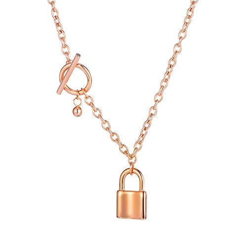 HIJONES Collar de Candado de Oro Rosa con Colgante de Candado con Cadena para Niñas, 43 cm
