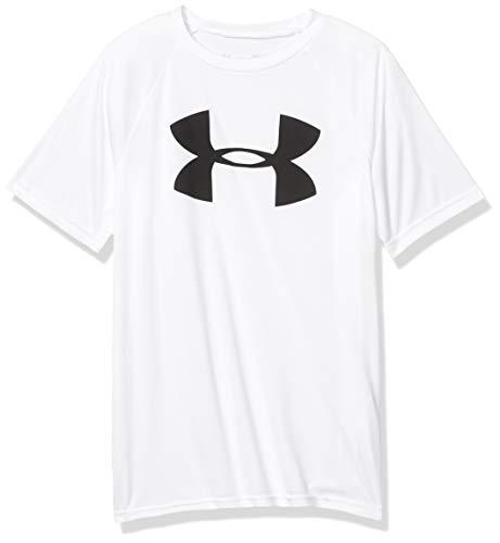 Under Armour Boys' Tech Big Logo Short Sleeve Gym T-Shirt , White (100)/Black , Youth X-Small