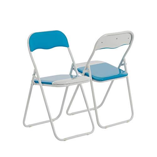 Chaise pliante rembourrée - pour le bureau - bleu ciel/blanc - lot de 2
