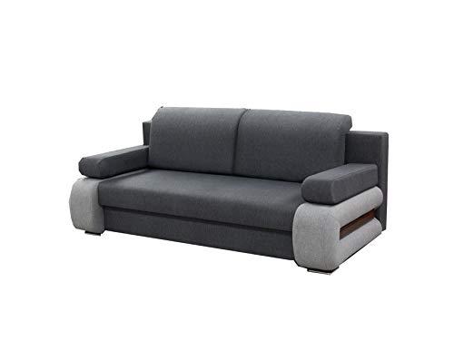 mb-moebel Modernes Sofa Schlafsofa Kippsofa mit Schlaffunktion Klappsofa Bettfunktion mit Bettkasten Couchgarnitur Couch Sofagarnitur 3er LEVIN01 (Grau)
